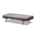 Baxton Studio Marit Mid-Century Modern Two-Tone Grey Fabric Upholstered Walnut Finished Wood Daybed - BSOBBT6812-Grey/Dark Grey/Walnut-Daybed