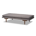 Baxton Studio Marit Mid-Century Modern Grey Fabric Upholstered Walnut Finished Wood Daybed Affordable modern furniture in Chicago, classic living room furniture, modern daybed, cheap daybed