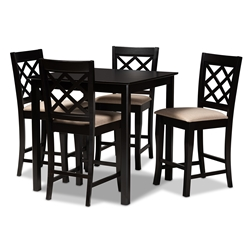 Baxton Studio Alora Modern and Contemporary Sand Fabric Upholstered Espresso Brown Finished 5-Piece Wood Pub Set Affordable modern furniture in Chicago, classic bar furniture, modern pub sets, cheap pub sets