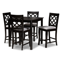 Baxton Studio Alora Modern and Contemporary Grey Fabric Upholstered Espresso Brown Finished 5-Piece Wood Pub Set Affordable modern furniture in Chicago, classic bar furniture, modern pub sets, cheap pub sets