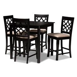 Baxton Studio Nisa Modern and Contemporary Sand Fabric Upholstered Espresso Brown Finished 5-Piece Wood Pub Set Affordable modern furniture in Chicago, classic bar furniture, modern pub sets, cheap pub sets