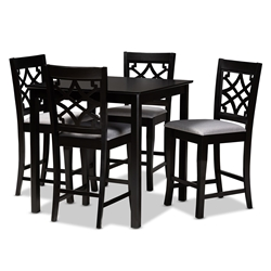 Baxton Studio Nisa Modern and Contemporary Grey Fabric Upholstered Espresso Brown Finished 5-Piece Wood Pub Set Affordable modern furniture in Chicago, classic bar furniture, modern pub sets, cheap pub sets