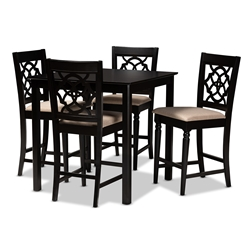Baxton Studio Arden Modern and Contemporary Sand Fabric Upholstered Espresso Brown Finished 5-Piece Wood Pub Set Affordable modern furniture in Chicago, classic bar furniture, modern pub sets, cheap pub sets