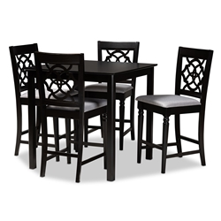 Baxton Studio Arden Modern and Contemporary Grey Fabric Upholstered Espresso Brown Finished 5-Piece Wood Pub Set Affordable modern furniture in Chicago, classic bar furniture, modern pub sets, cheap pub sets
