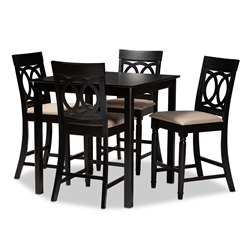 Baxton Studio Verina Modern and Contemporary Sand Fabric Upholstered Espresso Brown Finished 5-Piece Wood Pub Set Affordable modern furniture in Chicago, classic bar furniture, modern pub sets, cheap pub sets