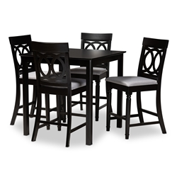 Baxton Studio Verina Modern and Contemporary Grey Fabric Upholstered Espresso Brown Finished 5-Piece Wood Pub Set Affordable modern furniture in Chicago, classic bar furniture, modern pub sets, cheap pub sets