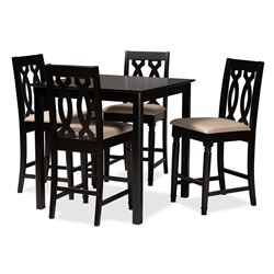 Baxton Studio Darcie Modern and Contemporary Sand Fabric Upholstered Espresso Brown Finished 5-Piece Wood Pub Set Affordable modern furniture in Chicago, classic bar furniture, modern pub sets, cheap pub sets