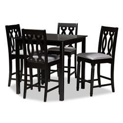 Baxton Studio Darcie Modern and Contemporary Grey Fabric Upholstered Espresso Brown Finished 5-Piece Wood Pub Set Affordable modern furniture in Chicago, classic bar furniture, modern pub sets, cheap pub sets