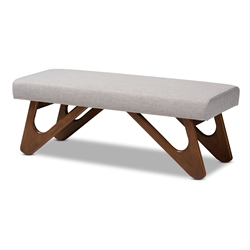 Baxton Studio Rika Mid-Century Modern Greyish Beige Fabric Upholstered Walnut Brown Finished Boomerang Bench Affordable modern furniture in Chicago, classic dining room furniture, modern dining bench, cheap dining bench