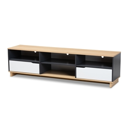 Baxton Studio Reed Mid-Century Modern Multicolor 2-Drawer Wood TV Stand Affordable modern furniture in Chicago, classic living room furniture, modern tv stand, cheap tv stand