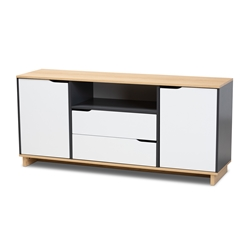 Baxton Studio Reed Mid-Century Modern Multicolor 2-Door Wood Dining Room Sideboard Affordable modern furniture in Chicago, classic dining room furniture, modern side board, cheap side board