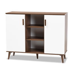 Baxton Studio Quinn Mid-Century Modern Two-Tone White and Walnut Finished 2-Door Wood Dining Room Sideboard Affordable modern furniture in Chicago, classic dining room furniture, modern side board, cheap side board