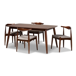 Baxton Studio Aeron Mid-Century Modern Light Gray Fabric Upholstered Walnut Finished Wood 5-Piece Dining Set Affordable modern furniture in Chicago, classic dining room furniture, modern dining sets, cheap dining sets