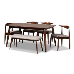 Baxton Studio Aeron Mid-Century Modern Light Gray Fabric Upholstered Walnut Finished Wood 6-Piece Dining Set Affordable modern furniture in Chicago, classic dining room furniture, modern dining sets, cheap dining sets