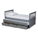 Baxton Studio Trine Classic and Traditional Grey Finished Wood Twin Size Daybed with Trundle - BSOMG8005-Grey-Daybed