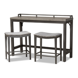 Baxton Studio Noll Modern and Contemporary Grey Fabric Upholstered 3-Piece Multipurpose Metal Counter Table Set Affordable modern furniture in Chicago, classic bar furniture, modern pub sets, cheap pub sets