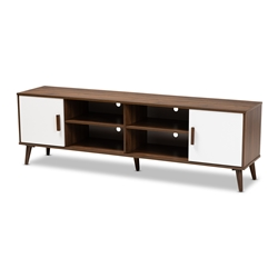 Baxton Studio Quinn Mid-Century Modern Two-Tone White and Walnut Finished 2-Door Wood TV Stand Affordable modern furniture in Chicago, classic living room furniture, modern tv stand, cheap tv stand