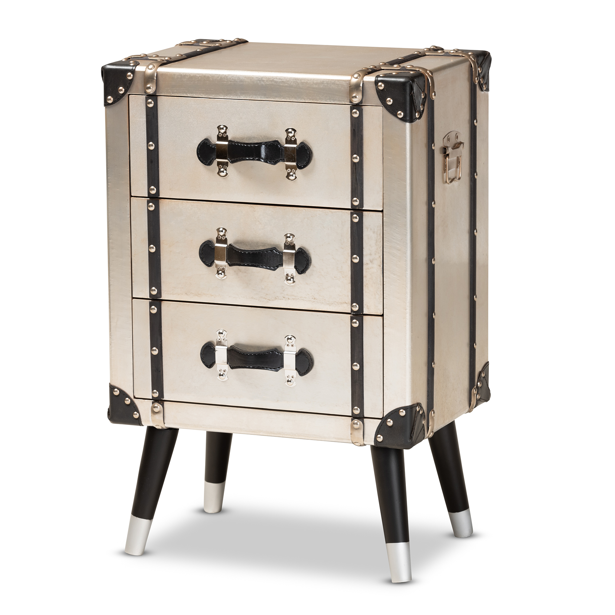 Baxton Studio Dilan Vintage Industrial Antique Silver Finished Metal Trunk Inspired 3 Drawer Nightstand