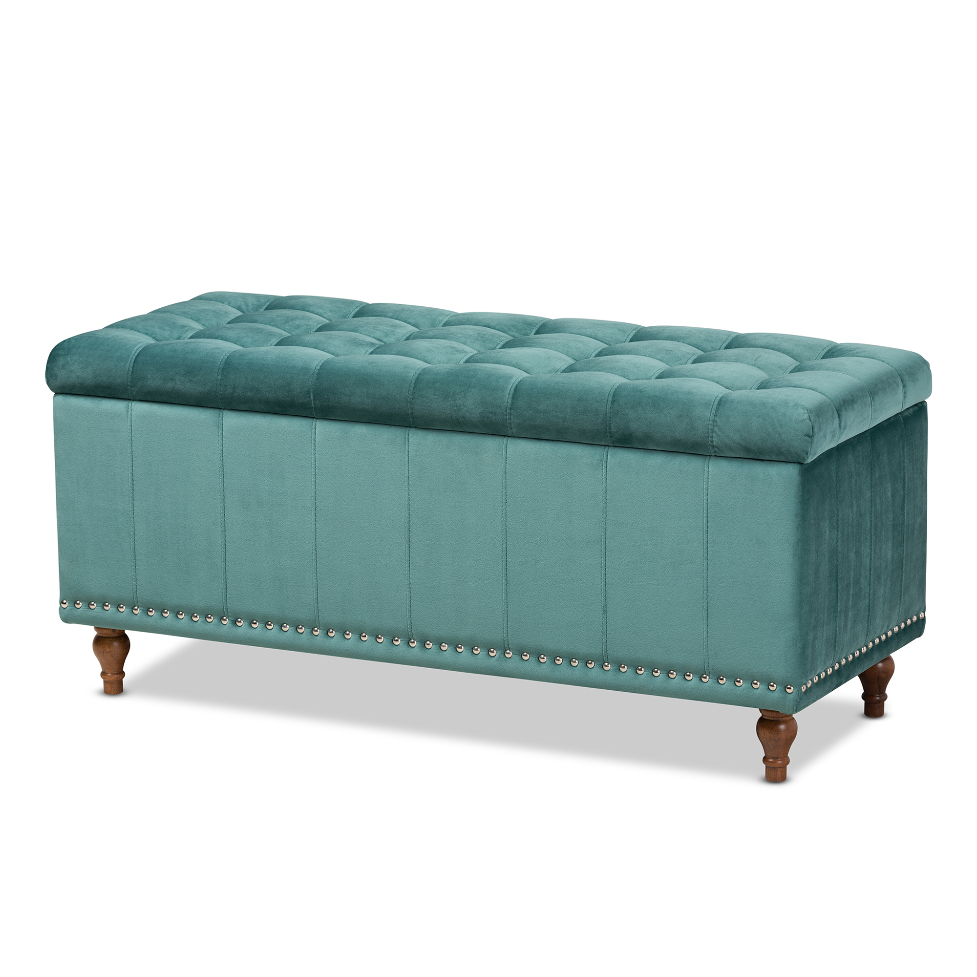 Baxton Studio Kaylee Modern And Contemporary Teal Blue Velvet Fabric Upholstered Button Tufted Storage Ottoman Bench