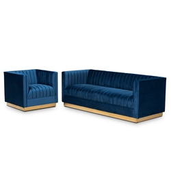 Baxton Studio Aveline Glam and Luxe Navy Blue Velvet Fabric Upholstered Brushed Gold Finished 2-Piece Living Room Set Affordable modern furniture in Chicago, classic living room furniture, modern sofa sets, cheap sofa sets