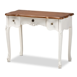 Baxton Studio Sophie Classic Traditional French Country White and Brown Finished Small 3-Drawer Wood Console Table Affordable modern furniture in Chicago, classic bedroom furniture, modern vanity table, cheap vanity table