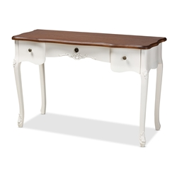 Baxton Studio Sophie Classic Traditional French Country White and Brown Finished Large 3-Drawer Wood Console Table Affordable modern furniture in Chicago, classic bedroom furniture, modern vanity table, cheap vanity table