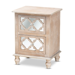 Baxton Studio Celia Transitional Rustic French Country White-Washed Wood and Mirror 2-Drawer Quatrefoil Nightstand Affordable modern furniture in Chicago, classic bedroom furniture, modern nightstand, cheap nightstand