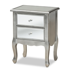 Baxton Studio Leonie Modern Transitional French Brushed Silver Finished Wood and Mirrored Glass 2-Drawer Nightstand Affordable modern furniture in Chicago, classic bedroom furniture, modern nightstand, cheap nightstand