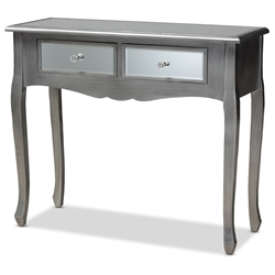 Baxton Studio Leonie Modern Transitional French Brushed Silver Finished Wood and Mirrored Glass 2-Drawer Console Table Affordable modern furniture in Chicago, classic dining room furniture, modern dining chairs, cheap dining chairs