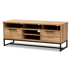 Baxton Studio Reid Modern and Contemporary Industrial Oak Finished Wood and Black Metal 2-Drawer TV Stand Affordable modern furniture in Chicago, classic living room furniture, modern tv stand, cheap tv stand