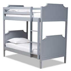 Baxton Studio Mariana Traditional Transitional Grey Finished Wood Twin Size Bunk Bed Affordable modern furniture in Chicago, classic bedroom furniture, modern twin size, cheap twin size