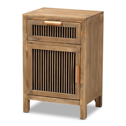 Baxton Studio Clement Rustic Transitional Medium Oak Finished 1-Door and 1-Drawer Wood Spindle Nightstand Affordable modern furniture in Chicago, classic bedroom furniture, modern nightstand, cheap nightstand