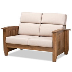 Baxton Studio Charlotte Modern Classic Mission Style Taupe Fabric Upholstered Walnut Brown Finished Wood 2-Seater Loveseat Affordable modern furniture in Chicago, classic living room furniture, modern loveseat, cheap loveseat