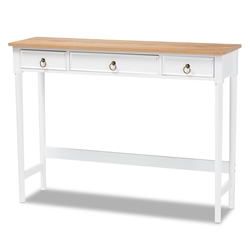 Baxton Studio Sylvie Classic and Traditional White and Natural Finished 3-Drawer Wood Console Table
