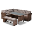 Baxton Studio Angela Modern and Contemporary Grey Fabric Upholstered and Brown Finished 4-Piece Woven Rattan Outdoor Patio Set Affordable modern furniture in Chicago, classic outdoor furniture, cheap patio furniture
