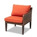 Baxton Studio Breida Modern and Contemporary Orange Fabric Upholstered and Brown Finished 6-Piece Woven Rattan Outdoor Patio Set - BSOMLM-210317-Orange
