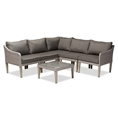 Baxton Studio Breida Modern and Contemporary Dark Grey Fabric Upholstered and Light Grey Finished 6-Piece Woven Rattan Outdoor Patio Set Affordable modern furniture in Chicago, classic outdoor furniture, cheap patio furniture