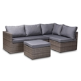 Baxton Studio Pamela Modern and Contemporary Grey Polyester Upholstered and Brown Finished 4-Piece Woven Rattan Outdoor Patio Set Affordable modern furniture in Chicago, classic outdoor furniture, cheap patio furniture