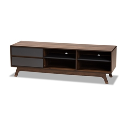Baxton Studio Koji Mid-Century Modern Two-Tone Grey and Walnut Finished Wood 2-Drawer TV Stand Affordable modern furniture in Chicago, classic living room furniture, modern tv stand, cheap tv stand