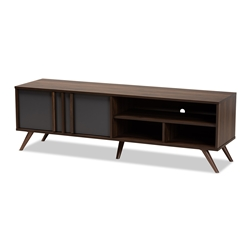 Baxton Studio Naoki Modern and Contemporary Two-Tone Grey and Walnut Finished Wood 2-Door TV Stand Affordable modern furniture in Chicago, classic living room furniture, modern tv stand, cheap tv stand
