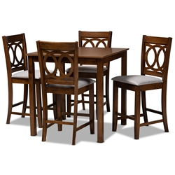 Baxton Studio Lenoir Modern and Contemporary Grey Fabric Upholstered Walnut Brown Finished 5-Piece Wood Pub Set Affordable modern furniture in Chicago, classic bar furniture, modern pub sets, cheap pub sets