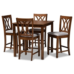 Baxton Studio Reneau Modern and Contemporary Grey Fabric Upholstered Walnut Brown Finished 5-Piece Wood Pub Set Affordable modern furniture in Chicago, classic bar furniture, modern pub sets, cheap pub sets