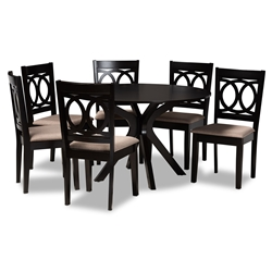 Baxton Studio Sanne Modern and Contemporary Sand Fabric Upholstered and Dark Brown Finished Wood 7-Piece Dining Set Affordable modern furniture in Chicago, classic dining room furniture, modern dining sets, cheap dining sets