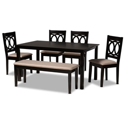 Baxton Studio Bennett Modern and Contemporary Sand Fabric Upholstered and Dark Brown Finished Wood 6-Piece Dining Set Affordable modern furniture in Chicago, classic dining room furniture, modern dining sets, cheap dining sets