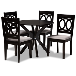 Baxton Studio Sanne Modern and Contemporary Grey Fabric Upholstered and Dark Brown Finished Wood 5-Piece Dining Set Affordable modern furniture in Chicago, classic dining room furniture, modern dining sets, cheap dining sets