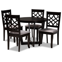 Baxton Studio Tricia Modern and Contemporary Grey Fabric Upholstered and Dark Brown Finished Wood 5-Piece Dining Set Affordable modern furniture in Chicago, classic dining room furniture, modern dining sets, cheap dining sets