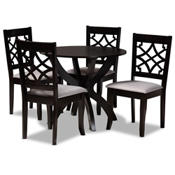 Baxton Studio Sandra Modern and Contemporary Grey Fabric Upholstered and Dark Brown Finished Wood 5-Piece Dining Set Affordable modern furniture in Chicago, classic dining room furniture, modern dining sets, cheap dining sets