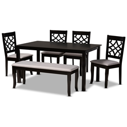 Baxton Studio Dori Modern and Contemporary Grey Fabric Upholstered and Dark Brown Finished Wood 6-Piece Dining Set Affordable modern furniture in Chicago, classic dining room furniture, modern dining sets, cheap dining sets