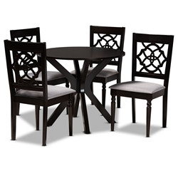 Baxton Studio Sadie Modern and Contemporary Grey Fabric Upholstered and Dark Brown Finished Wood 5-Piece Dining Set Affordable modern furniture in Chicago, classic dining room furniture, modern dining sets, cheap dining sets