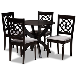 Baxton Studio Tonia Modern and Contemporary Grey Fabric Upholstered and Dark Brown Finished Wood 5-Piece Dining Set Affordable modern furniture in Chicago, classic dining room furniture, modern dining sets, cheap dining sets